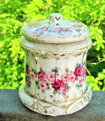 Antique Hand Painted Roses & Gold Gilded Accents Biscuit Covered Jar Germany?