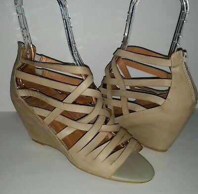 a2279528c6 Jeffrey Campbell Ibiza Zuma Strappy Taupe Nude Leather Wedge Sandals Women's  10
