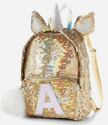 NWT JUSTICE Girls Unicorn Flip Sequin Mini Backpack CHOOSE LETTER