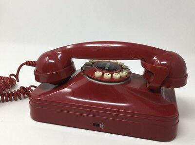 POTTERY BARN VINTAGE Retro Red Grand Wall Phone Push Button Rotary Style  Works