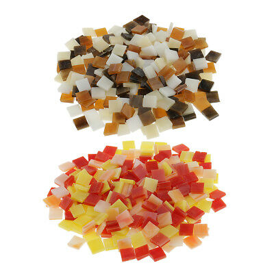 500pcs Colorful Square Glass Mosaic Tiles Vitreous for Art DIY Craft 10x10mm