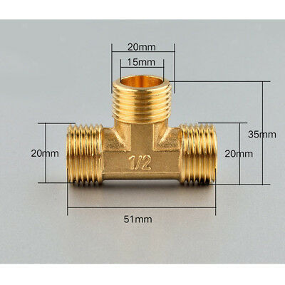 "Male Tee Fitting Tube Connector 1/2"" Three Way Forged Brass Thickened"
