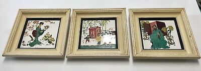 3 Vintage Chinese Hand Painted Mid Century Porcelain Tiles Wood Framed Lot Asian