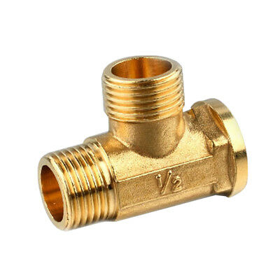 "Male Male Female Tee Fitting Tube Connector 1/2"" Three Way Forged Brass"