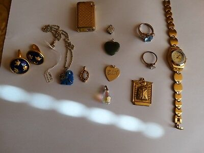 Vintage jewelry jenuine jade,opal other stone, silver and gold, watch, lither &