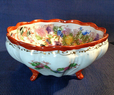 Nippon Kutani - Footed Bowl -  Hand Painted Inside And Out - Geisha With Gilding