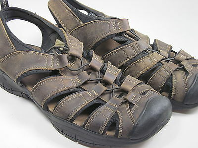 12f0cc95bed2 NUNN BUSH MEN S Fisherman Brown Leather Sandals Bungee Cords Size 13 ...