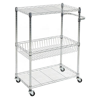 3 Tier Kitchen Cart With Wire Baskets And Handles Trolley Locking Wheels