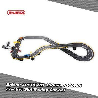 Cool Baisiqi 42506-2D Two Slot Racing Car DIY Orbit Set Self-assembled Toys V8M7