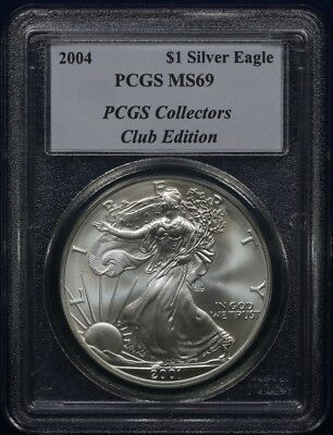2001/2004 PCGS Collectors Club Edition PCGS MS69 $1 Silver Eagle in Error Holder