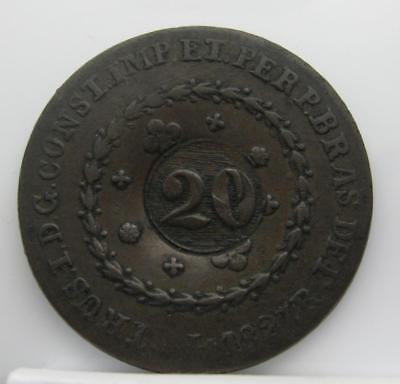 Brazil 1827-R 20-Reis! 'counter-Stamped'! Fine! Km# 360.1! Really Nice Coin Look