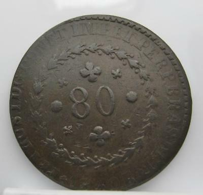 Brazil 1830-R 80-Reis! Very Fine! Km# 360.1! Really Nice Old Type Coin! Look!