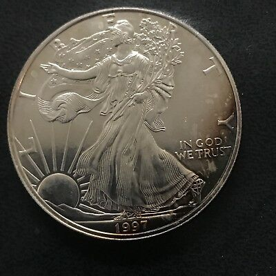 1997 Silver Dollar Coin AMERICAN EAGLE Walking Liberty Toned No Reserve