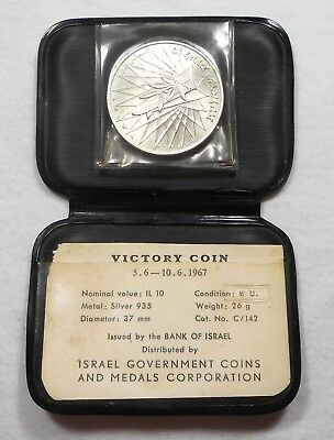 Nice 1967 Israel 10 Lirot Proof Silver Coin - KM# 49a - Victory Coin