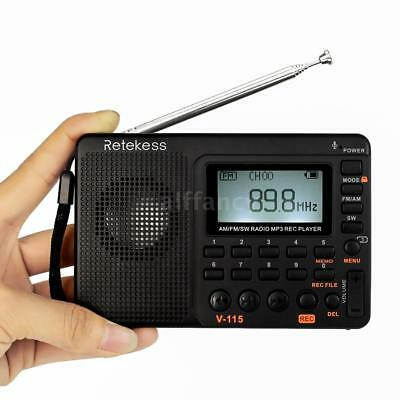 Retekess V-115 FM/AM/SW Multiband Radio Receiver REC Recorder Stereo MP3 Player