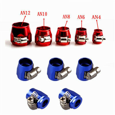 Fuel Hose Line End Cover Clamp Adapter Fitting Connectors AN4~AN12 #Red/Blue