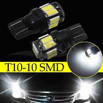 2x 6000K White T10 10SMD Wedge Interior Map Door LED Light Bulbs W5W 168 194