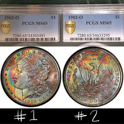 2 End of Roll MONSTER TONED Morgan Silver Dollars PCGS MS65 DUAL HOLDER RARE SET