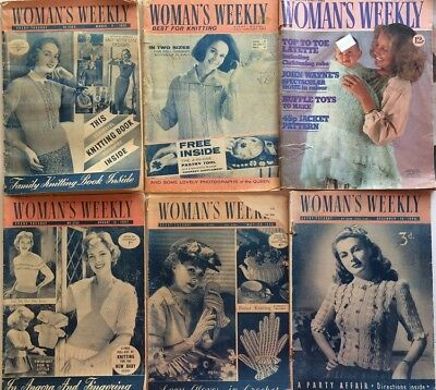6 Women's Weekly Magazines dated 1949 to 1978 Knitting Patterns VINTAGE