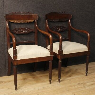 Antique pair of armchairs chairs Italian furniture mahogany wood fabric 800