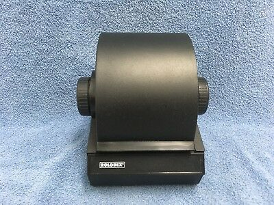 ROLODEX 2254D Black Metal Rotary Flip Card File with Index Cards No Key Vintage