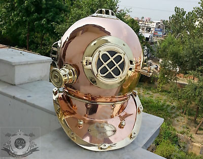 Beautiful Antique Vintage Brass N Copper US Navy Divers Diving Helmet Gift 18""