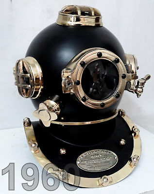 Black Brass Sea Scuba Antique Divers Diving Helmet Vintage Us Navy Marine Boston