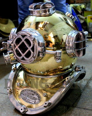 US Navy Vintage Heavy Solid Brass & Aluminium Diving Divers Helmet  Boston Mass