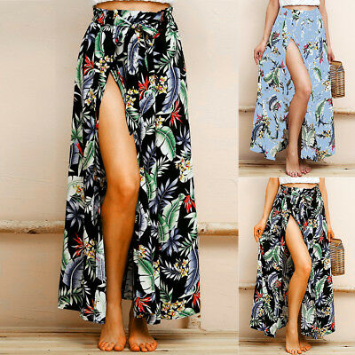 e747a95a84 Boho Women High Waist Skirt Summer Beach Long Maxi Dress Floral Split Skirt