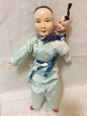 Vintage Chinese Doll and Baby in backpack cloth body