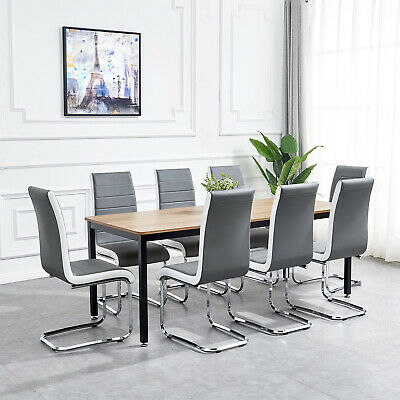 Gray Black White Side Dining Chairs High Back Faux Leather