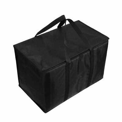 Insulated Nylon Food Delivery Bag Black For Hot Cold Food Delivery Shopping NEW