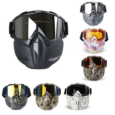 Winter Motorcycle Bicycle Bike Riding Ski Helmet Open Face Mask Goggles Harley