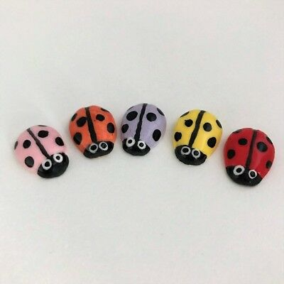 CERAMIC LADYBIRDS / LADYBUGS (x5) - 16x12mm - Multicoloured ~ Mosaic, Art, Craft