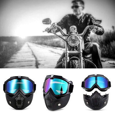 2 in1 Detachable Motorcycle Bike Riding Ski Helmet Open Face Mask Goggles Harley