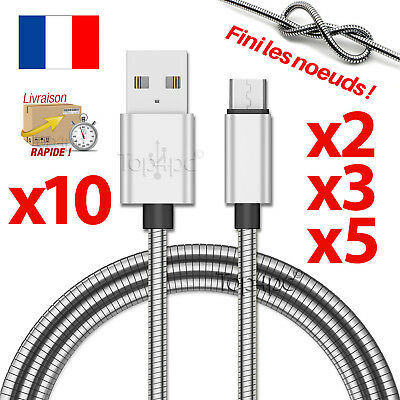 Chargeur Pour Samsung Galaxy S6 S7 Edge Cable Micro Usb Data V8 Android Metal