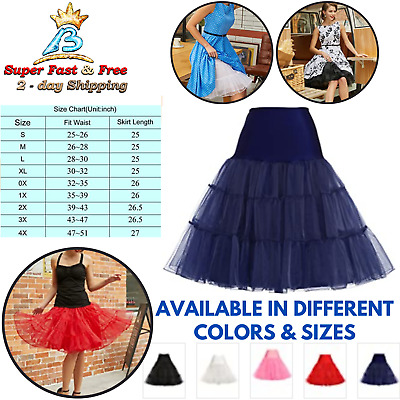 Petticoat Dance Swing Skirt Vintages 50s Prom Tutu Slip Underskirt Plus Size New