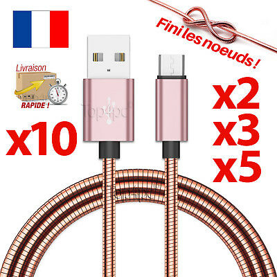 Chargeur Pour Samsung Galaxy S6 S7 Edge Cable Micro Usb V8 Android Cuivre Rose