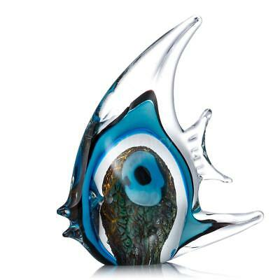 Stripe Tropical Fish Tooarts Glass Sculpture Ornament Decor Christmas Gift M2K7