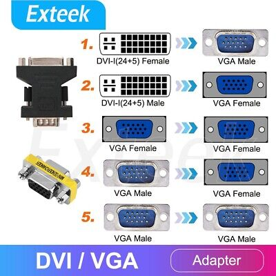 VGA Female to DVI-D 24+1 Male / VGA Female to DVI-I 24+5 Male Converter Adapter