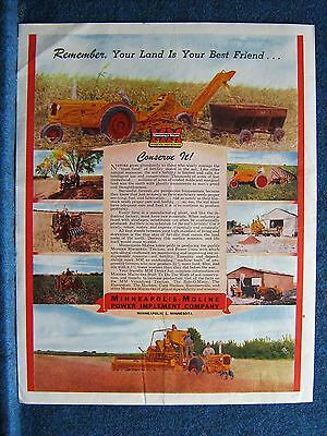 1947 Minneapolis-Moline  Orig Ad ~ 8 Farm Scenes ~ YOUR LAND IS YOUR BEST FRIEND
