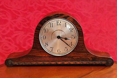 Vintage German Art Deco 8 Day Oak Case Mantel Clock