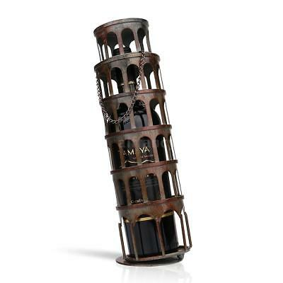 TOOARTS Metal Rustic Tower Wine Bottle Holder Rack Handwork Art Decorations C3V1