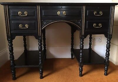 *RARE* EBONY Large ANTIQUE Victorian Knee Hole Writing Desk. Offers Considered!