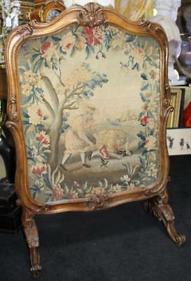 Elegant Early 19th c. Carved Walnut French Tapestry Fire Screen