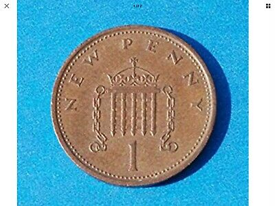 "ONE ""NEW PENNY 1p uk collectable currency years; 1971,73,74,75,76,77,78,79,80,81"