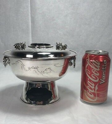 Superb Antique Japanese Chinese Pure Silver Koro Sensor Incence Burner Bowl 752g