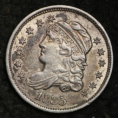 1835 Capped Bust Half Dime CHOICE AU+/UNC FREE SHIPPING E223 GCNT