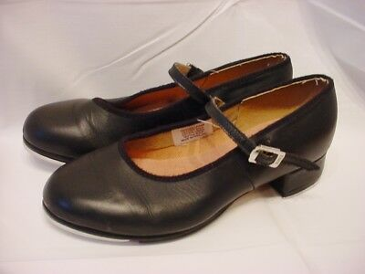 Girls Size 1 Bloch Black Leather Mary Jane Tap Shoes