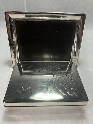Superb Antique Japanese Chinese Pure Silver & Wood Box and Tray Signed SCENIC